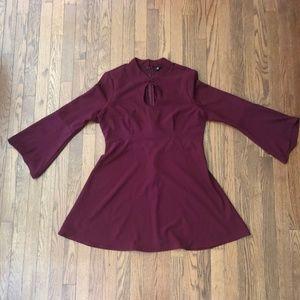 Dark Red Bell Sleeve A-Line Dress